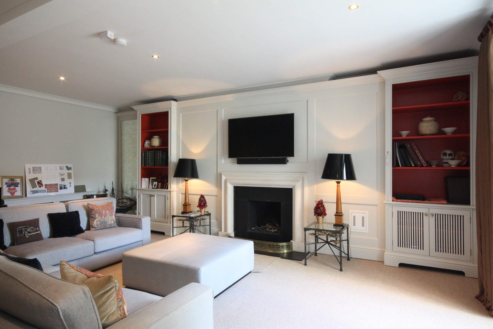 Bespoke wall panelling bookcases mirror TV unit enigma design