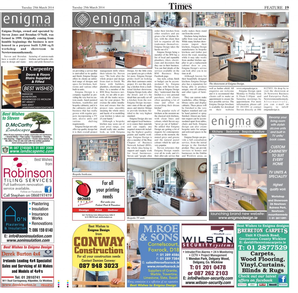 enigma design wicklow times article march 2014