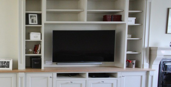 Bespoke inframe TV unit bookcase enigma design dalkey 2