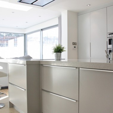 Contemporary flat panel kitchen design 5 wide